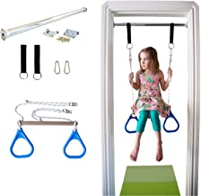 DreamGYM Indoor Swing Trapeze Bar and Gymnastic Rings Combo for Doorway Gym - Blue