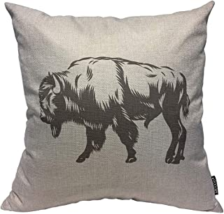 Mugod Throw Pillow Cover Animal Black Bison American Buffalo Inked White Graphic Head Arrangement Mascot Home Decor Square Pillow Case for Men Women Bedroom Livingroom Cushion Cover 18x18 Inch