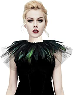 HOMELEX Gothic Real Feather Cape Shawl Shoulder Wings Choker Collar