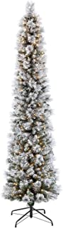 Puleo International 7.5 Foot Pre-Lit Flocked Pencil Portland Pine Artificial Christmas Tree with 350 UL Listed Clear Lights