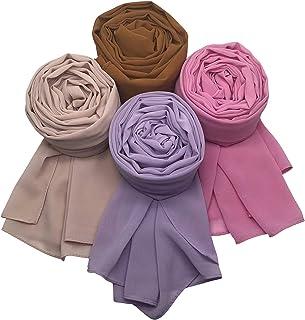 MANSHU 4 PCS Women Soft Chiffon Scarves Shawl Long Scarf Wrap Scarves.