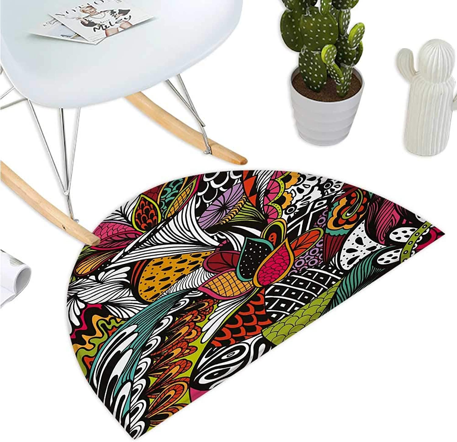 Garden Semicircular Cushion Doodle Abstract Exotic Flowers colorful Ornate Leaves Petals Festive Tropical Print Entry Door Mat H 35.4  xD 53.1  Multicolor