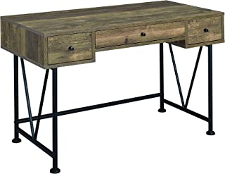 Coaster Analiese Writing Desk in Rustic Oak and Black