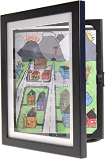 Li'l DAVINCI Art Frames: Front-Opening, Wooden EZ Store Frames That Allow You to Hold up to 50 Items in Each! (Black, 8.5 x 11)