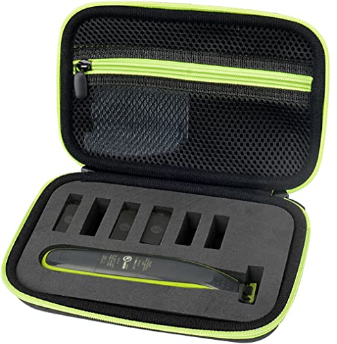 2021 WGear Organizer and Carrying Case for Philips Norelco OneBlade (FFP), OneBlade Face + Body, OneBlade Hybrid Electric new arrival Trimmer, outlet sale Norelco QP2520/70, QP2530, QP2620, QP2630, Black with Green Zipper outlet online sale