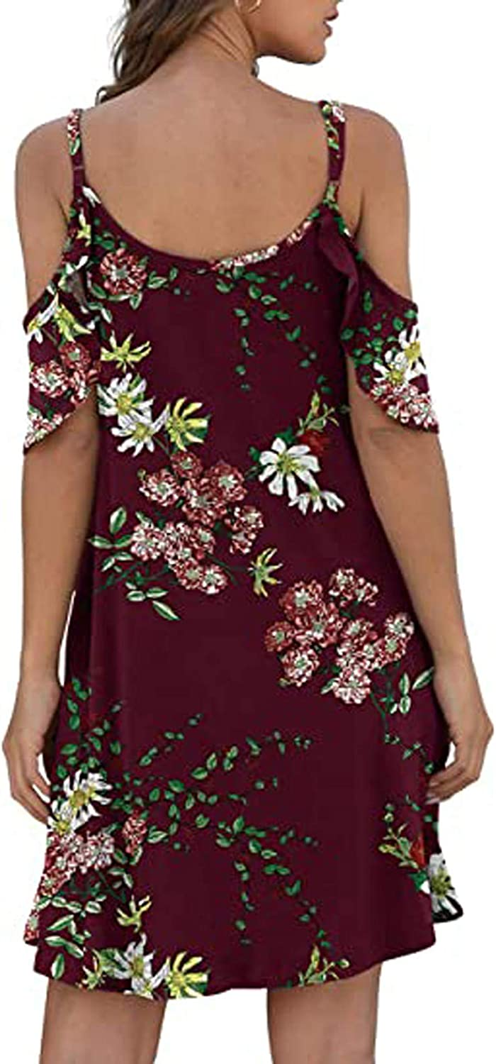 Plus Summer Size Dresses for Women Cold Shoulder O-Neck Short Sleeve Hollow Out Loose Fit Print with Pockect
