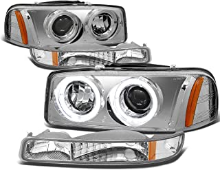 For 99-07 GMC Sierra/Yukon GMT800 4pc Chrome Housing Amber Corner Dual Halo Projector Headlight+Bumper Light