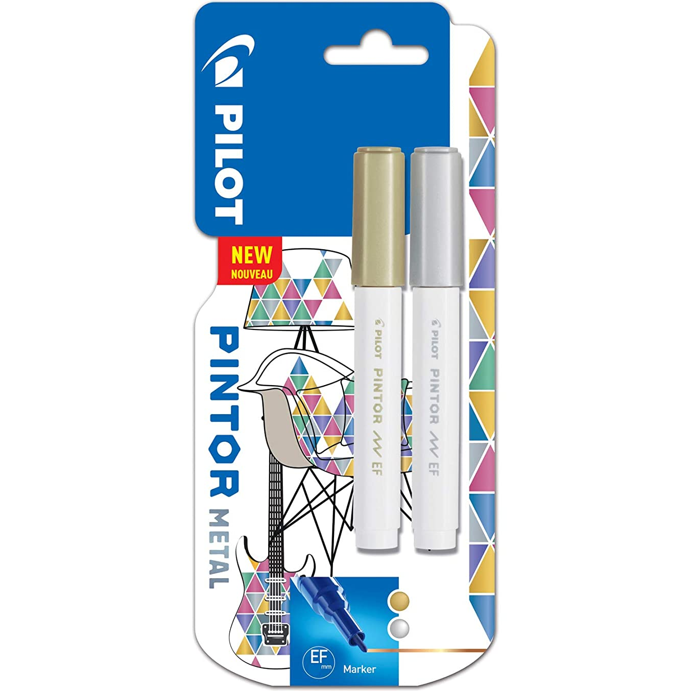 Pilot Pintor Fine Line Bullet Paint Marker 2.9mm Tip- Gold and Silver (Pack of 2)
