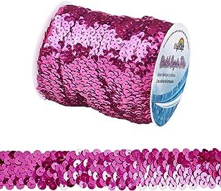 OLYCRAFT 11-Yard 1 Inch Elastic Sequin Trim Metallic Pink Stretch Sequin Trim 3-Row Fabric Paillette Ribbon Trim for Dress...