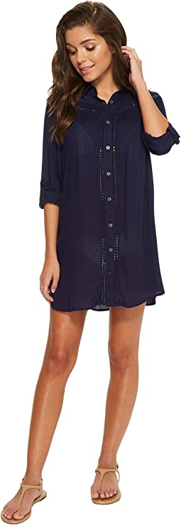 Tommy Bahama Lace Shirred Boyfriend Shirt Cover-Up