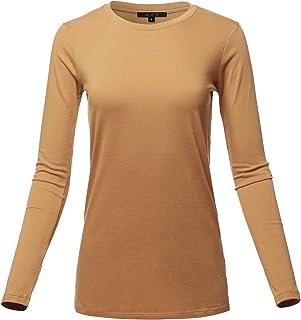 3016179e2dfe0 Women s Basic Solid Soft Cotton Long Sleeve Crew Neck Top Shirts ...