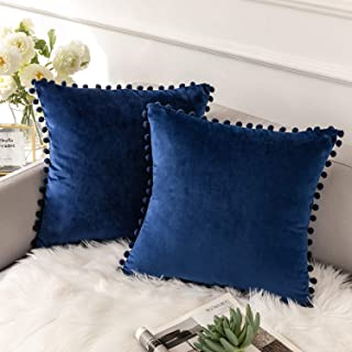 Best Ashler Decorative Throw Pillow Covers with Pom Poms Soft Particles Velvet Solid Cushion Covers 18 X 18 for Couch Bedroom Car, Pack of 2, Dark Blue Review