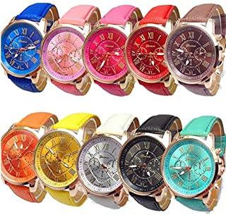 Weicam Wholesale Watches 10 Pack Fashion Ladies Women PU Leather Assorted Wrist Watch Set Roman Numerals