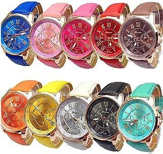 Wholesale Watches 10 Pack Fashion Ladies Women PU Leather Assorted Wrist Watch Set Roman Numerals Analog Quartz for Men Unisex Girls