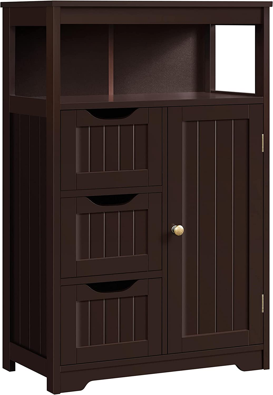 Yaheetech Wood Bathroom Floor Cabinet 5 ☆ popular Drawers 3 Cupboard 1 Wholesale with