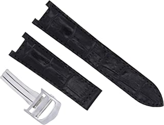 GENUINE LEATHER BAND STRAP CLASP FOR FIT 38MM CARTIER PASHA 20MM BLACK #2PC SS