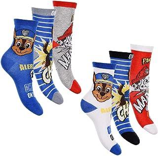 Paw Patrol, Pack de 6 calcetines para niño, muchos diseños y diseños diferentes. Mix 9. 31-34 cm