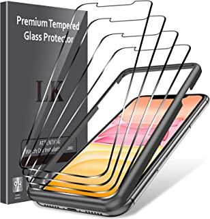 LK [4 Pack] Screen Protector for iPhone 11 and XR [6.1 inch], [Tempered Glass] [Alignment Frame Easy Installation] [3D Touch]