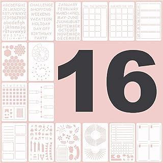 Lot de 16 Bullet Journal Pochoir,pochoirs de journal réutilisables pour travaux manuels, sculpture, lettres, pochoirs alph...