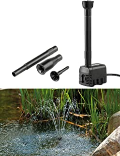 Royal Gardineer Teich Brunnen: Teichpumpe Fontaine mit 4 Wasserspiel-Aufsätzen, 230 Volt (Springbrunnen Gartenteich)