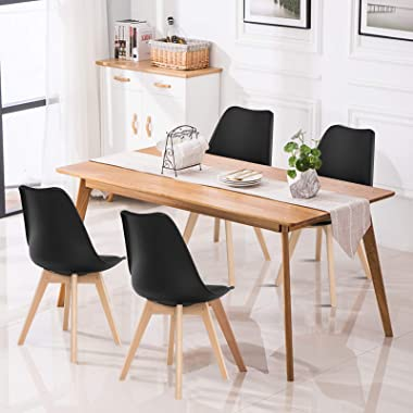 Giantex Set of 4 Modern Dining Chairs, High Backrest Kitchen Chairs, Elegant Mid Century Side Chairs w/Padded Seat, Solid Woo