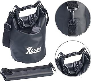 Xcase Wasserfeste Tasche: Wasserdichter Packsack, strapazierfähige Industrie-Plane, 5 l, schwarz Seesäcke LKW-Plane