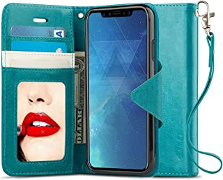 J&D Case Compatible for iPhone Xs Case, iPhone X Case, [RFID Blocking] [Mirror Function] Shockproof Flip Cover Wallet Case with Card Slots and Makeup Mirror for Apple iPhone Xs/iPhone X Wallet Case
