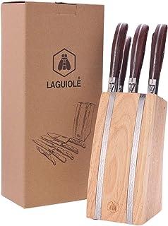 LAGUIOLE - Bloc de 5 ustensiles - Manches en bois de pakka - Couteau à viande, Couteau à pain, Couteau d'office, Fourchett...