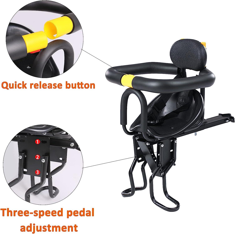 INNOLIFE Kids Bike Seat, Front Mounted Child Bike Seat with Guadrail Front Bike Seat for 8M - 6Y Children, Kids,Toddlers