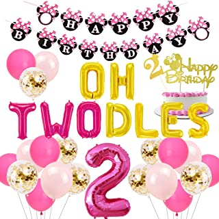 JOYMEMO 2nd Birthday Decorations Themed of Minnie Mouse for Girls, Oh Twodles Number 2 Foil Balloon, Happy Birthday Banner and Minnie Theme Cake Topper for Second Birthday Party Supplies