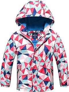 HuTuHu Boys Girls Fleece Windbreaker Hooded Waterproof Jacket Outerwear, 4-10Y