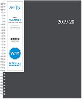 Blue Sky 2019-2020 Academic Year Weekly & Monthly Student Planner, Flexible Cover, Twin-Wire Binding, 8.5