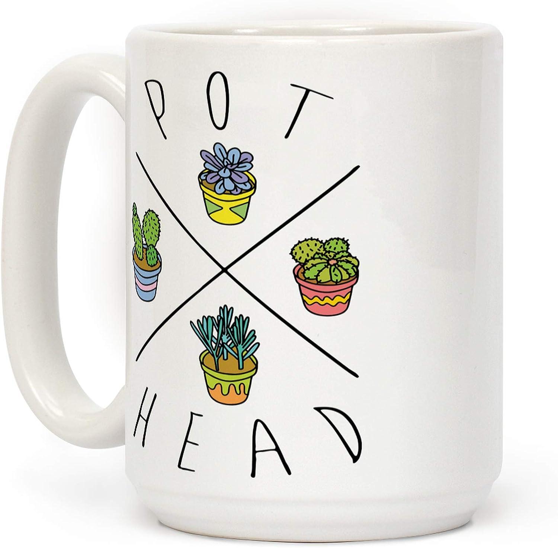 LookHUMAN Pot Head Tucson Mall Succulents White Coffee Super sale 15 Ceramic Ounce Mug
