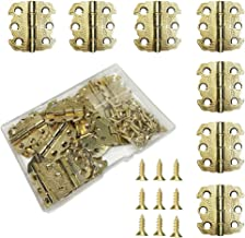 Juland 20 Pieces Mini Engraved Designs Hinges Antique Retro Hinges with 80 Pieces Replacement Screws for Wooden Box Jewelry Chest Box Cabinet DIY Accessories (29x 27mm)- Brass