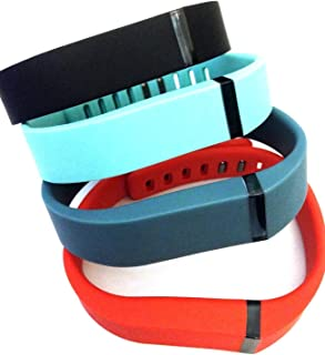 Set Large L 1pc Black 1pc Slate 1pc Red (Tangerine) 1pc Teal (Blue/Green) Replacement Bands with Clasps for Fitbit FLEX Only /No tracker/ Wireless Activity Bracelet Sport Wristband Fit Bit Flex Bracelet Sport Arm Band Armband