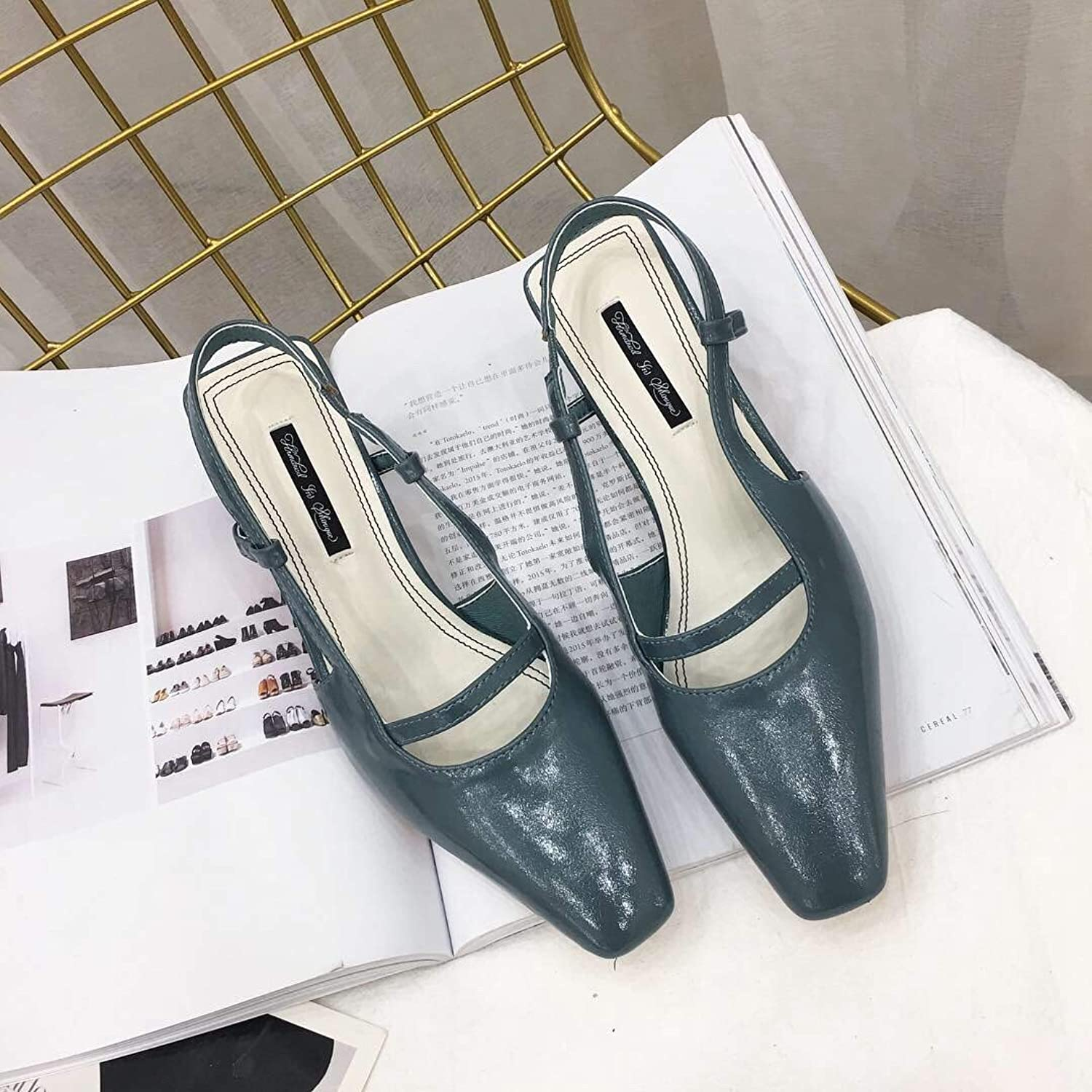 DNJKSA Rough Heels and High Heels Women's shoes in Spring and Summer of 2019 Have Elegant Temperament, Fashion and Simple Hollow Outwear