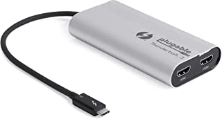 Plugable Thunderbolt 3 to Dual HDMI 2.0 Display Adapter Compatible with MacBook Pro Systems (2019 8 7), and Dell XPS. Project or Stream to Up to 2X 4K 60Hz Monitors (Thunderbolt 3 Certified)