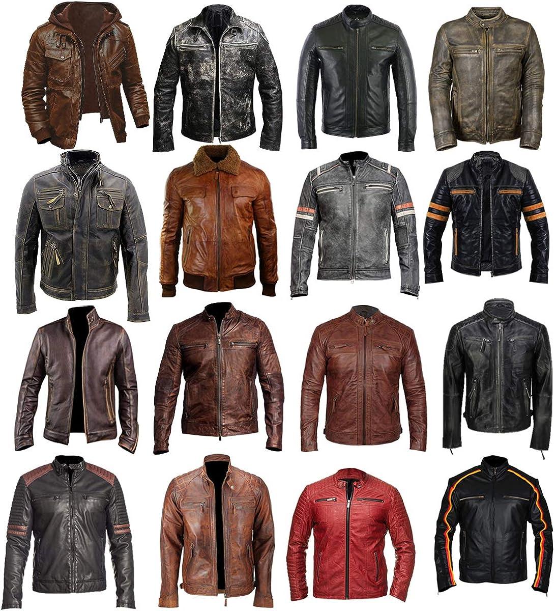 Mens Brando Cafe Racer Vintage Retro Antique Distressed Black Biker Leather Jacket