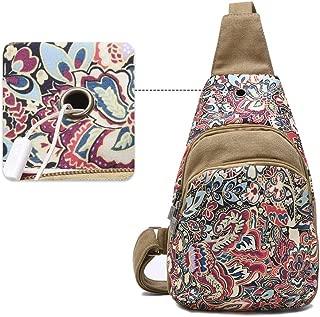 Black Butterfly Bohemia Crossbody Bag Outdoor Shoulder Chest Pack for Women Girls Travel Daypack