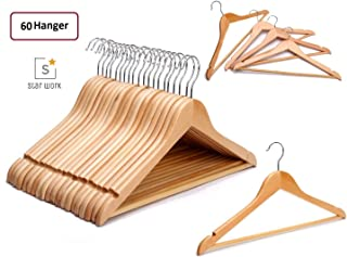 Solid Wood Garment (60) Hangers - with Non Slip Bar and Precisely Cut Notches(60) - 360 Degree Swivel Chrome Hook - Natural Finish Super Sturdy and Durable Wooden Hangers (60)