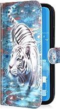 Compatible con Huawei P30 Funda Piel PU Cuero,Billetera Flip Libro Tapa Purpurina Glitter Brillante Carcasa Multifuncion Soporte Plegable,Cierre Magnético,Ranura tarjetas Funda,Tigre
