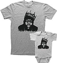 Sponsored Ad - Biggie Smalls Inspired Adult T Shirt & Infant Onesie Bundle/Unisex Grey Shirt & Baby Bodysuit