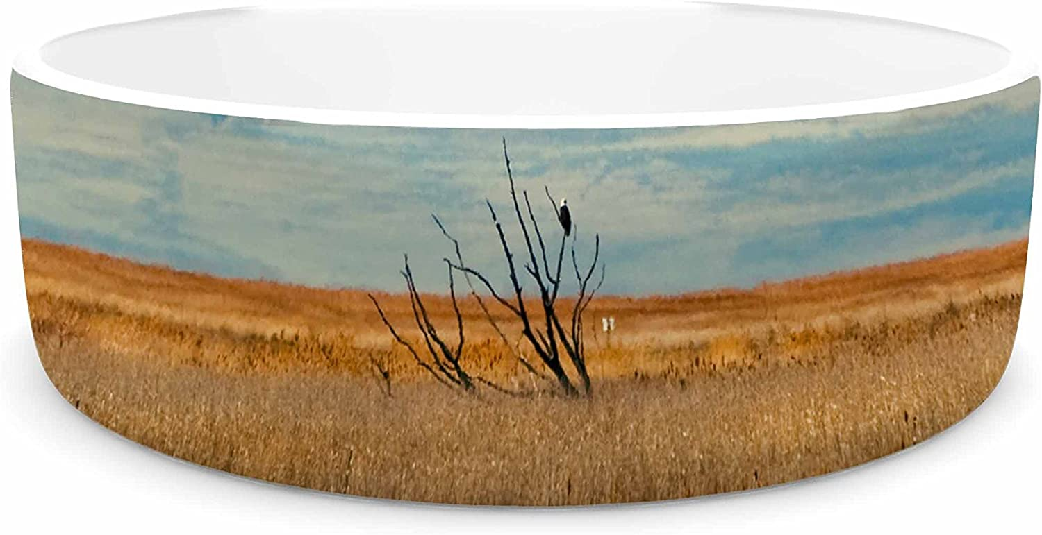 KESS InHouse Sylvia Coomes Reflective Landscape bluee Brown Pet Bowl, 7