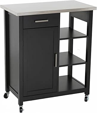 """Home Life Oliver and Smith - Nashville Collection - Mobile Kitchen Island Cart on Wheels - Black - Stainless Steel Top - 32"""" W x 17"""" L x 36"""" H 102117-01blk"""