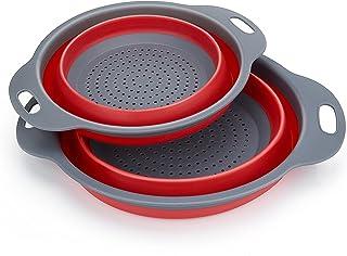 Coladores Cocina, Diealles Cocina Plegable Colador de Silicona Colador Plegable Cesta de Frutas Lavado Escurridor para Cocina Uso Doméstico (Rojo)