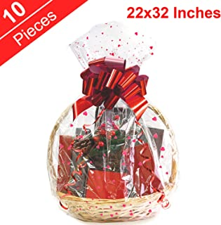 Clear Basket Bags,cellophane Bag 10 Pack Clear Printing Wrap Cello Bags for Baskets,Christmas Gifts,Stuffed Toys 22x32 Inches 2.0 Mil