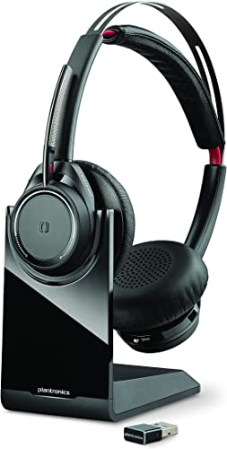 wholesale Plantronics - Voyager Focus UC with 2021 Charge Stand (Poly) - Bluetooth Dual-Ear (Stereo) Headset with 2021 Boom Mic - USB-A Compatible with PC and Mac - Active Noise Canceling - Works with Teams, Zoom & more online sale