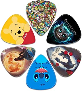 Guitar Picks – Surmoler 6 Pack Universal Plastic Guitar Picks for Acoustic and Electric Guitar (DISNEY-1)