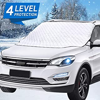 Mumu Sugar Car Windshield Snow Cover, Car Windshield Snow Ice Cover With 4 Layers Protector, Waterproof Windshield Winter Cover For Ice,Snow,Frost,UV Protection,Extra Large Size Fits for Most Vehicles