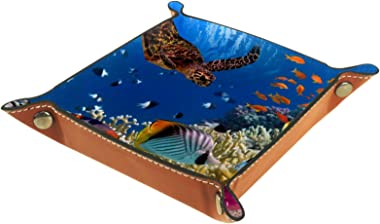 Valet Tray Desk Organizer - Coral Reef with Many Fish - Leather Dresser Tray for Men and Women Key Jewelry Accessories